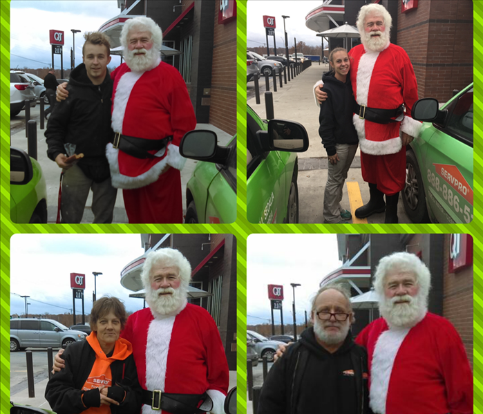 collage of 4 pictures with Santa Claus and employee