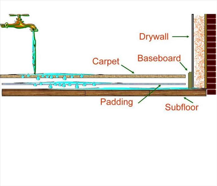 Diagram showing water travel from carpet, padding, subfloor