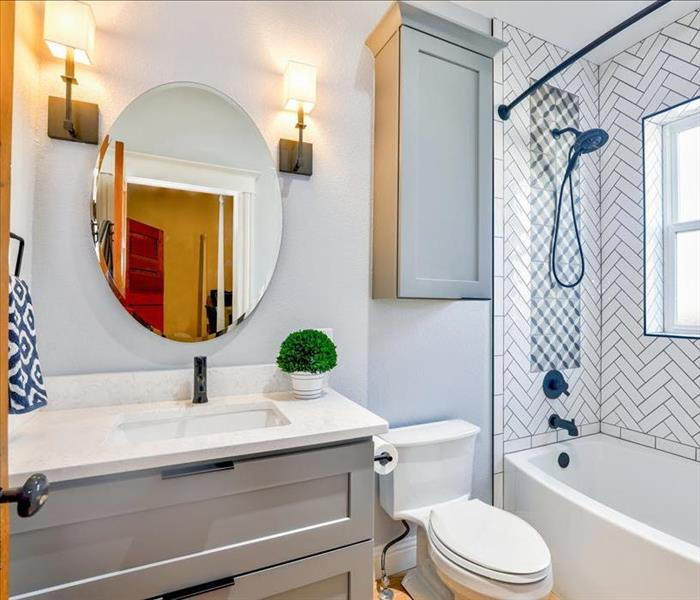 Bathroom viewed through doorway. Vanity with mirror, toilet, and tiled shower bath with window.